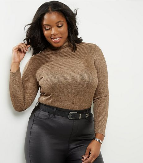 Curves Gold Metallic Ribbed Roll Neck Top | New Look