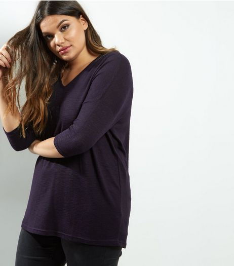 Curves Navy V Neck Brushed Top | New Look
