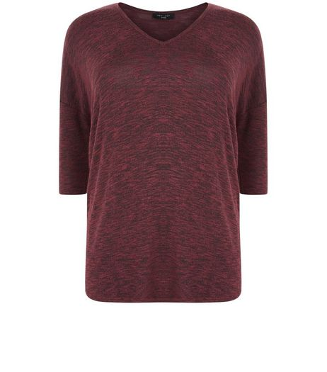 Curves Burgundy V Neck Brushed Top | New Look