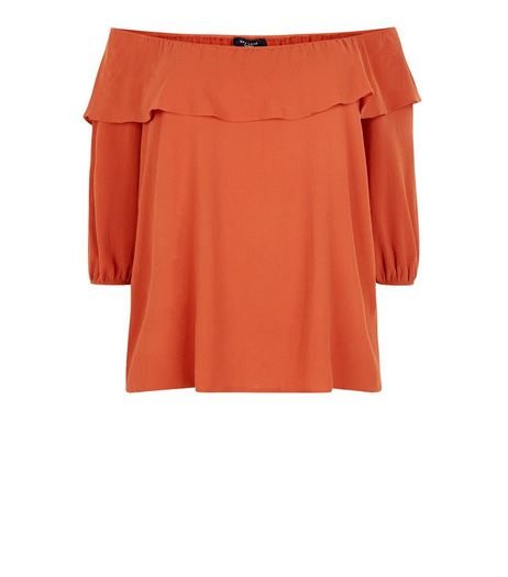 Curves Rust Frill Bardot Neck Top | New Look