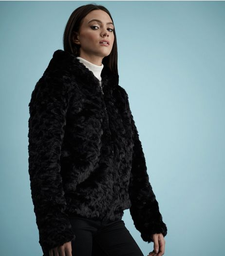 Black Faux Fur Hooded Jacket | New Look