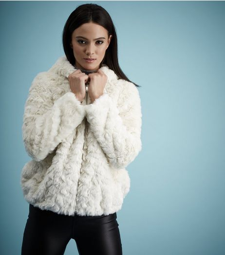 Cream Faux Fur Hooded Jacket  | New Look