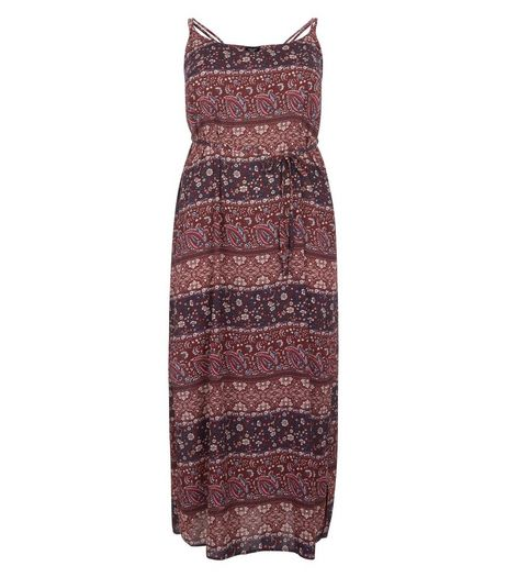 Curves Dark Red Paisley Print Strappy Maxi Dress | New Look
