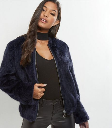 Navy Faux Fur Zip Front Bomber Jacket | New Look