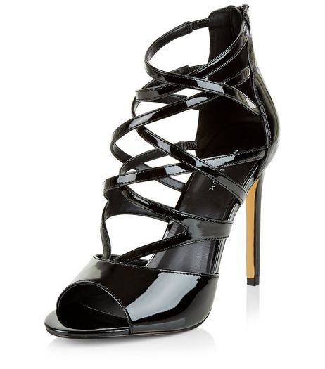 Black Leather-Look Peep Toe Sandals | New Look