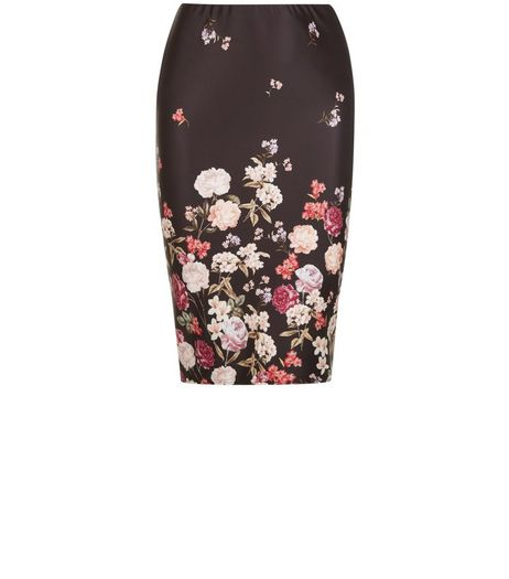 Curves Black Floral Print Pencil Skirt | New Look