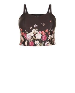 Curves Black Floral Print Bralet | New Look