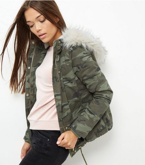 Green Camo Print Drawstring Hooded Jacket  | New Look
