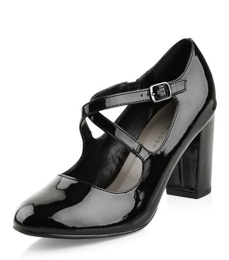 Wide Fit Black Patent Cross Strap Block Heels  | New Look
