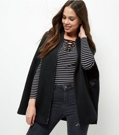 Black Bomber Collar Poncho | New Look