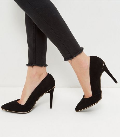 Wide Fit Black Suedette Pointed Court Shoes  | New Look