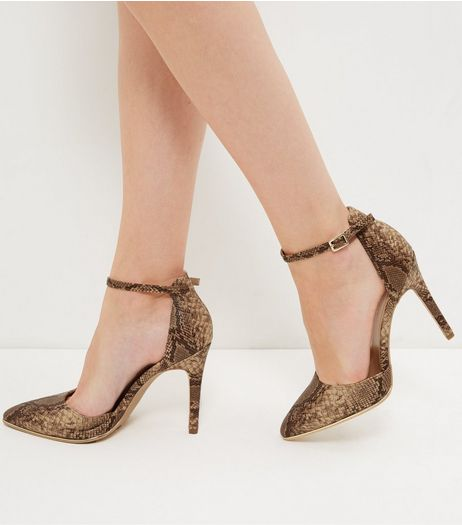 Wide Fit Brown Snakeskin Pointed Ankle Strap Heels  | New Look