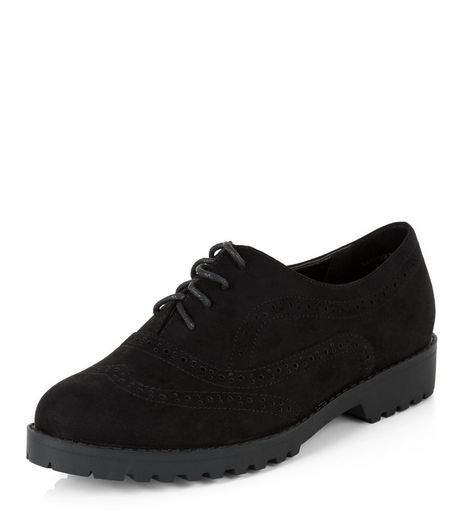 Wide Fit Black Suedette Chunky Brogues  | New Look