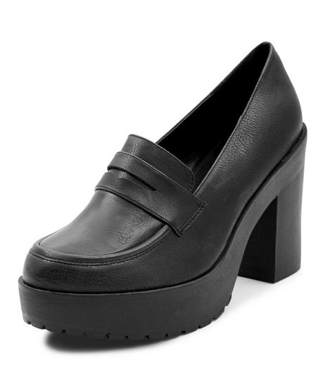Black Chunky Loafer Block Heels  | New Look