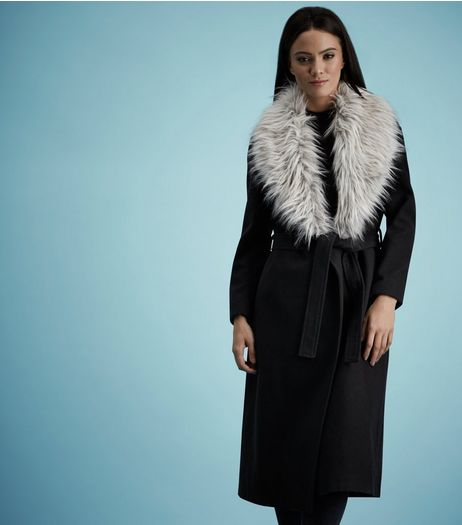Black Faux Fur Collar Belted Longline Coat | New Look