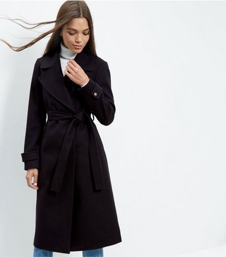 Navy Wide Collar Wrap Front Longline Coat  | New Look