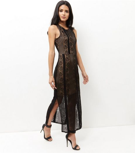 Mela Black Contrast Lace Maxi Dress | New Look
