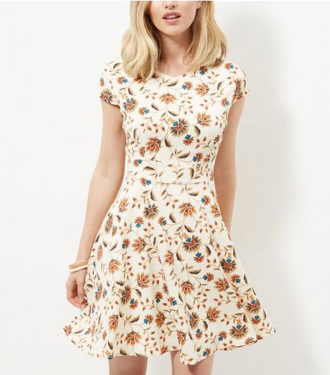 Mela Cream Floral Print Cap Sleeve Skater Dress  | New Look