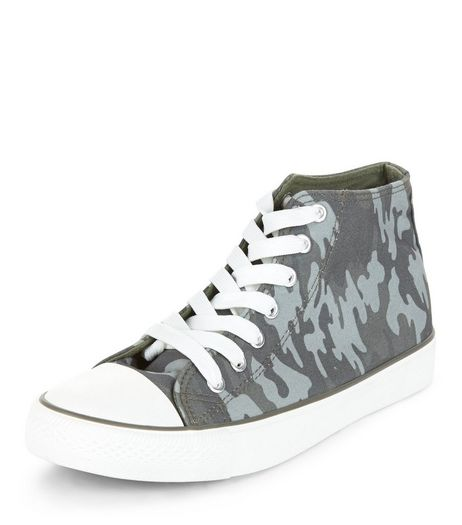 Green Camo Print Hi-Top Plimsolls  | New Look