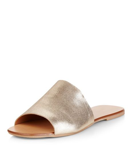 Wide Fit Gold Leather Peep Toe Mules  | New Look