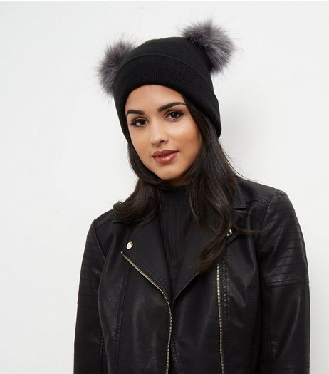 Black Double Faux Fur Pom Pom Beanie Hat | New Look