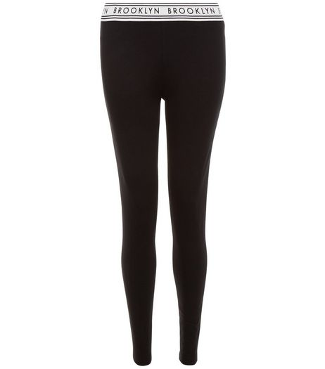 Black Brooklyn Elastic Waistband Leggings | New Look