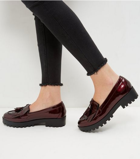Dark Red Chunky Loafers | New Look