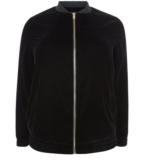 Curves Black Velvet Bomber Jacket | New Look