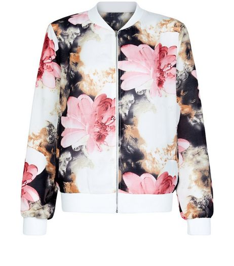 Cameo Rose White Oversized Floral Print Bomber Jacket | New Look