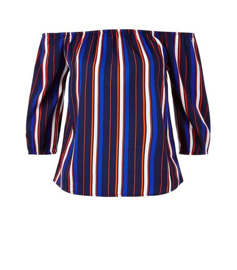 Influence Blue Stripe Bardot Neck Top | New Look