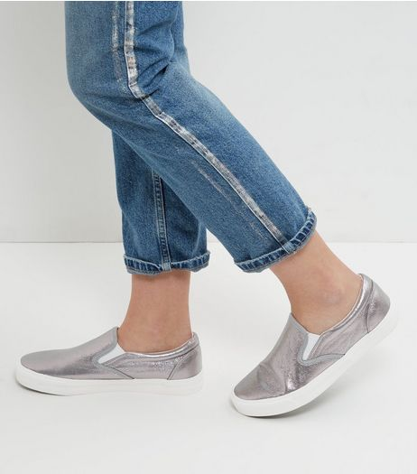 Pewter Shimmer Slip On Plimsolls  | New Look