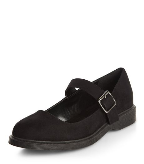 Teens Black Suedette Ankle Strap Pumps | New Look