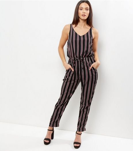 Mela Black Stripe Tie Waist Jumpsuit  | New Look