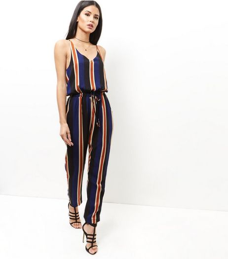 Mela Blue Stripe Jumpsuit | New Look