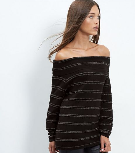 Blue Vanilla Black Stripe Bardot Neck Jumper | New Look