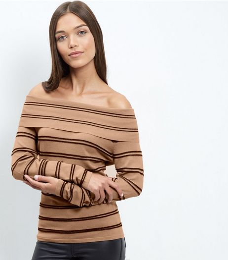 Blue Vanilla Camel Stripe Bardot Neck Jumper | New Look