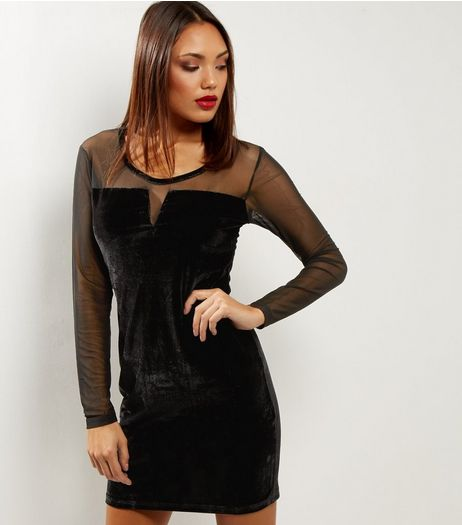 Blue Vanilla Black Velvet Mesh Panel Bodycon Dress | New Look
