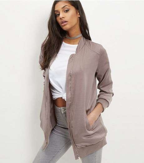 Gold Sateen Longline Bomber Jacket  | New Look