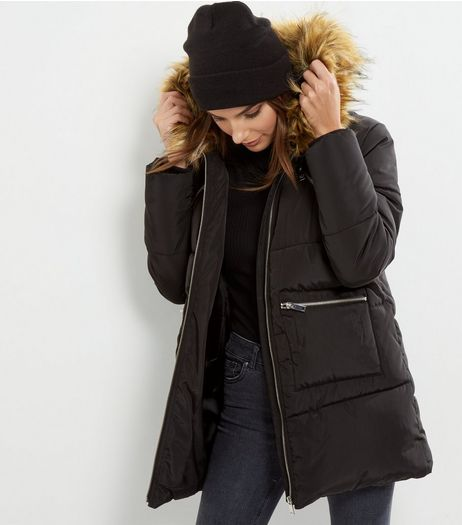 Black Faux Fur Trim Quilted Puffer Jacket | New Look