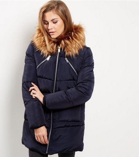 Navy Faux Fur Trim Quilted Puffer Jacket | New Look