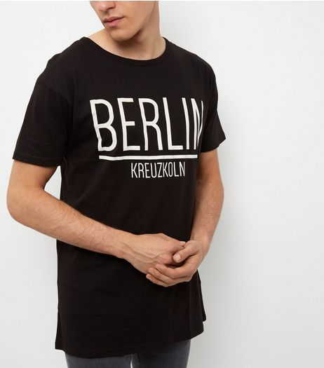 Black Berlin Print Longline T-Shirt | New Look