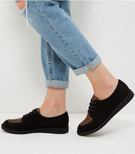Black Leopard Print Creepers | New Look