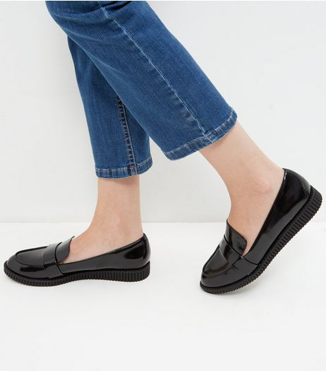 Black Patent Creeper Loafers | New Look