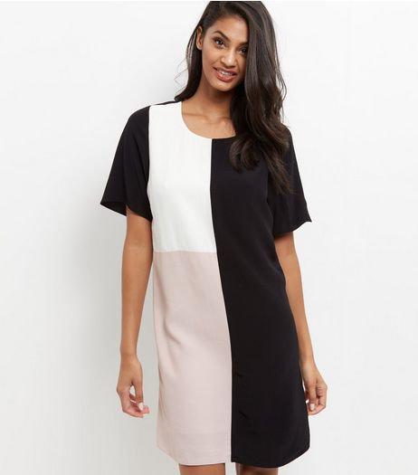 Black Colour Block Tunic Dress  | New Look