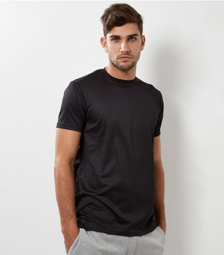 Black Airtex Longline T-Shirt | New Look