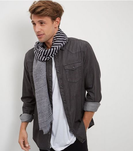 Black Contrast Stripe Scarf  | New Look