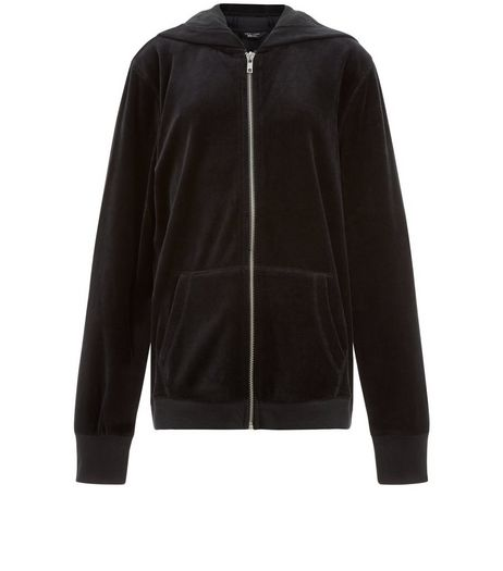 Teens Black Velvet Hoody | New Look