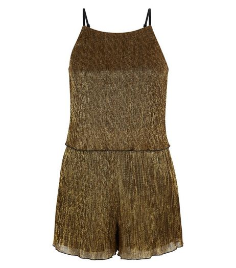 Teens Gold Pleated Playsuit | New Look