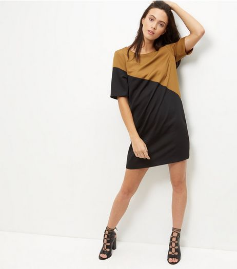 Black Colour Block Satin Tunic Dress | New Look