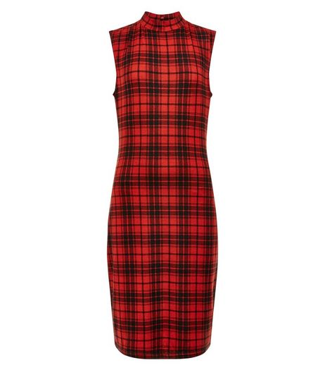 Teens Red Tartan Check Bodycon Dress | New Look